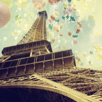 40% off sale - Paris Photo - Eiffel Tower - Balloons - Romance and Celebrations - Paris is Flying - going out of stock - only a few left