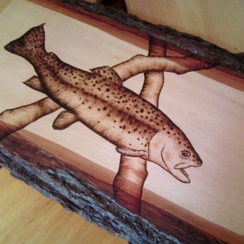 Rustic Trout Wood Art Pyrography Country Home Decor