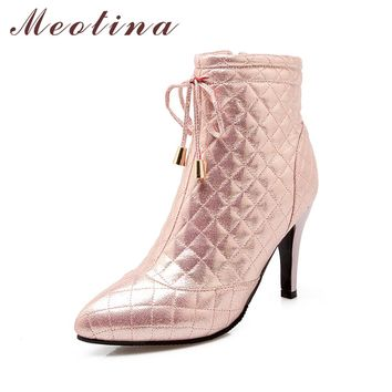 Meotina Women Boots High Heel Ankle Boots Fall Winter Bow Ankle Boots Zip Footwear Lady Shoes Pink Sliver Gold Big Size 10 42 43