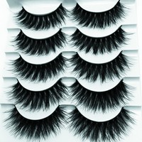 YOKPN Thick False Eyelashes Faux Lashes Mink Hair Natural Messy 3D Fake Eye Lashes Makeup Tips Long Black Curl False Eyelash
