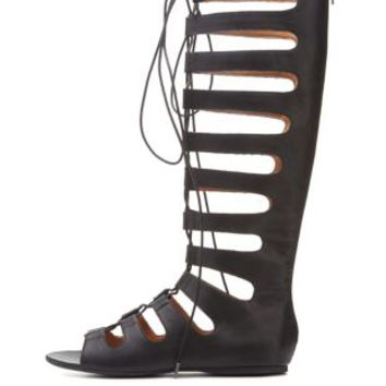 Black Lace-Up Tall Gladiator Sandals by Charlotte Russe