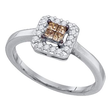 10kt White Gold Womens Princess Cognac-brown Color Enhanced Diamond Square Cluster Halo Ring 1/4 Cttw