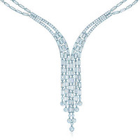 Tiffany & Co. - Deco fringe necklace in platinum with round and baguette diamonds.