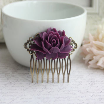 A Large Amethyst Purple Rose Flower Antiqued Brass Filigree Hair Comb. Statement Comb. Bridesmaid Hair Comb. Purple Wedding. Bridal.