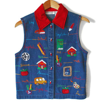 Back To School Teacher Ugly Denim Vest