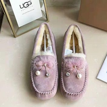 UGG Autumn Winter Newest Popular Women Cute Pearl Bowknot Wool Single Shoes