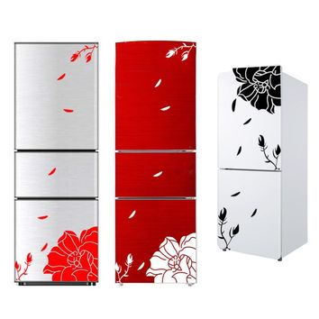 One Set High Quality Magnolia Flower Refrigerator Sticker Home Decoration Elegant Magnolia Floral Wall Sticker Art Mural
