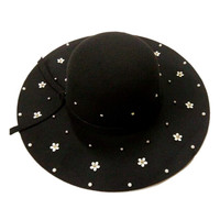 Black Beaded Floral Knot Band Fedora Hat