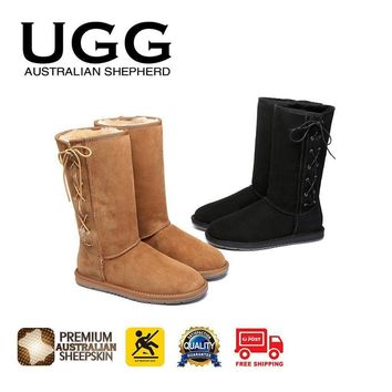 jacklish UGG Boots Tall Side Lace Up, Premium Australian Double Faced Sheepskin