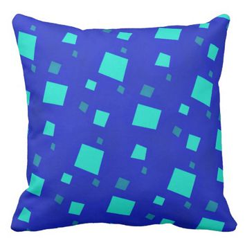 Royal Blue and Turquoise Modern Abstract Pattern Throw Pillow
