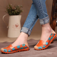 4 Color Fashion Printing Casual Genuine Leather Flat