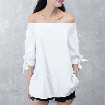 SASHA Off-Shoulder Tunic Top with Tie Sleeves- White