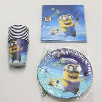 Baby shower decoration party theme 20 paper cups glasses +20 paper plates dishes favor minions birthday party supplies set 60pcs