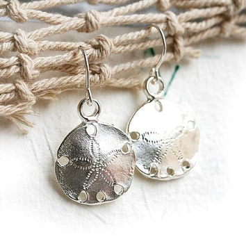 Silver Sand dollar Earrings, Beach Jewelry, Beach Earrings, Sea Jewelry, Sand dollar charm, Ocean Jewelry by MayaHoney