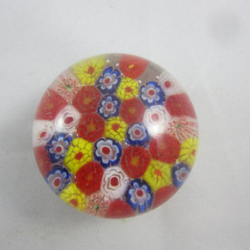 Vintage Millefiori Paperweight Multicolored Canes Art Glass Paperweight Round
