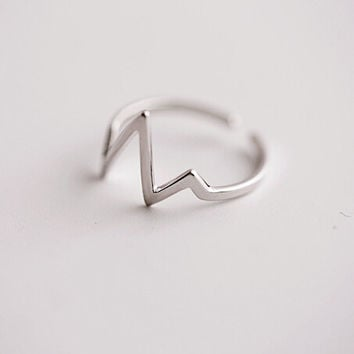 925 sterling silver ring, contracted the heart open ring, the silver ring, exquisite gift personality