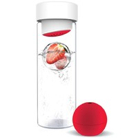 AdNArt Glass Water Bottle with Fruit Iceball Maker, Red