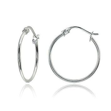 Sterling Silver Small High Polished Round Thin Lightweight Unisex ClickTop Hoop Earrings Choose a Size amp Metal