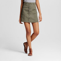 Mossimo Supply Co. Women's Button Front Skirt, Olive Green, 18