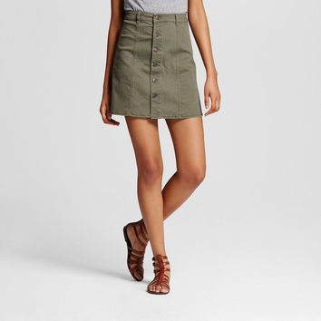 Mossimo Supply Co. Women's Button Front Skirt, Olive Green, 00