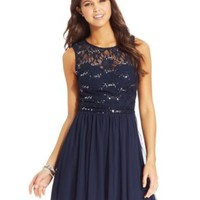 Speechless Juniors' Glittered Lace Dress (Only at Macy's) | macys.com