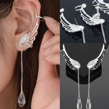 1 Pair Angel Wing Stylist Crystal Silver Plated Earrings Drop Dangle Ear Stud Cuff Clip = 1946605700