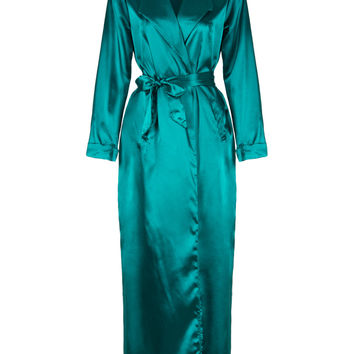 Green Lapel Tie Waist Sheer Sleeves Maxi Dress