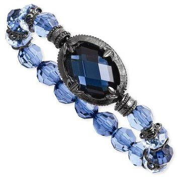 Black-Plated Blue Acrylic & Glass Stretch Bracelet