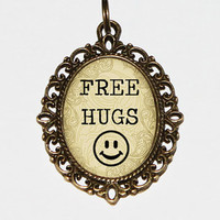 Free Hugs Necklace, Oval Pendant