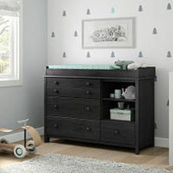 South Shore Furniture Little Smileys Changing Table with Removable Changing Station - Gray Oak
