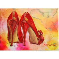 Wow Factor, Wall Art, Art Print, Red High Heels, fashion shoe art, shoe lovers, red shoes print, archival 5 x 7 inches