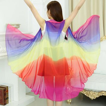 Summer Rainbow Chiffon Scarf Women Clothing Beach Silk Scarf Sunscreen 2017 Fashion Flower Print Pashmina Foulard Ponchos Capes