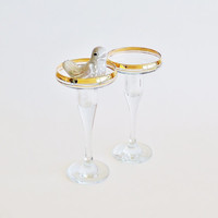 PASABAHCE Gilded Glass Taper Candle Holders