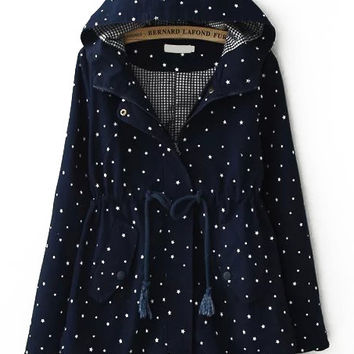 Navy Hooded Stars Print Long Sleeve Coat