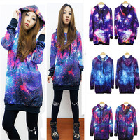 PRO Print Chic Womens Galaxy Space Starry Top Jumper Top Hoodie Coat Sweatshirt