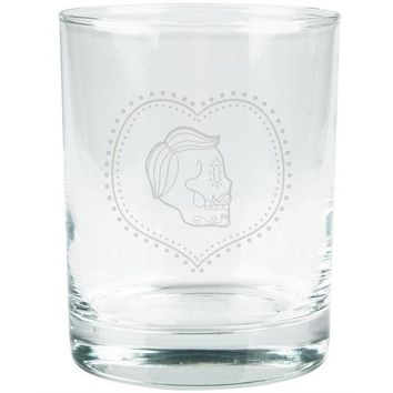 DCCKU3R Valentines Male Sugar Skull Etched Glass Tumbler
