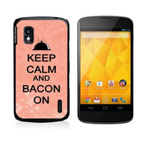 Keep Calm And Bacon On Coral Floral Google Nexus 4 Case - For Nexus 4