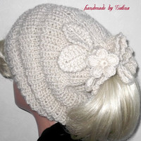 Chunky Knit Oversized Beret Neck Warmer Slouchy Wool Hat Beanie Grey White Tube Scarf Crochet Flowers FREE SHIPPING