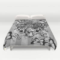 Lost and Found, floral owl with sugar skull Duvet Cover by Kristy Patterson Design