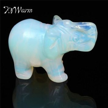KiWarm Exquisite Party Birthday Moonstone Hand Carved Elephant Gemstone Festival Holiday Home Office Desk Decoration Gift