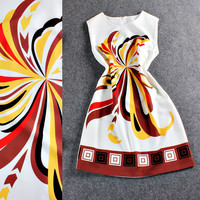 Solid Sleeveless Printed Shift Dress