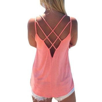 Camisole Criss Cross Backless Strap Top