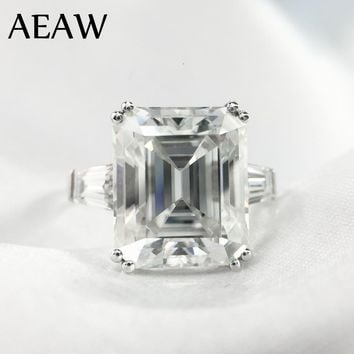 5 Carat ct 9x11mm DF Grade Emerald Cut Engagement&Wedding Moissanite Lab Diamond baguette Ring Genuine 14K 585 White Gold