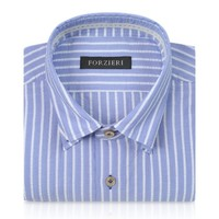 Forzieri Designer Dress Shirts Slim Fit Striped Light Blue and White Cotton Shirt