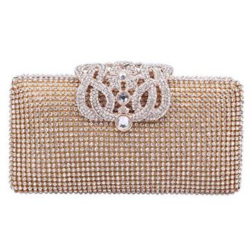 Fawziya® Crown Crystal Evening Clutch Purses And Handbags For Girls