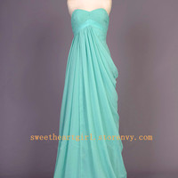 elegant pleated sweetheart Mint a line Prom Dress