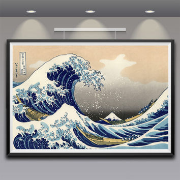 Artwork Painting Katsushika Hokusai Great Wave Off Kanagawa Views Of Mount Fuji
