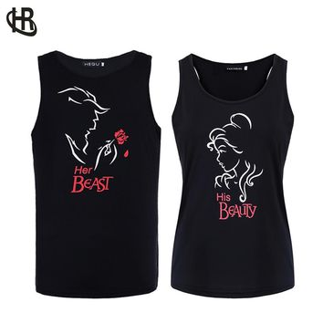 H&R 2018 NEW Matching Couple Tank Top  Beast and Beauty Fashion Design Printed  Sleeveless T Shirt Summer Vest Tee
