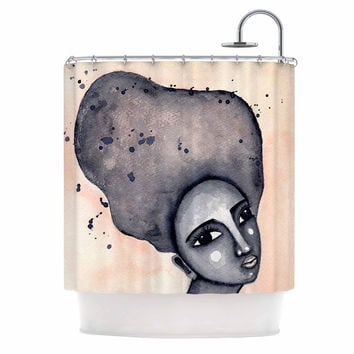 "Stacey-Ann Cole ""Yearning African American Art"" Beige Black Shower Curtain"