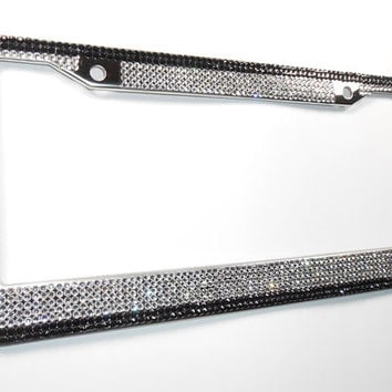 Silver & Black Crystal Rhinestone Bling License Plate Frame w/Screw Cap Cover, Mega Bling Plate Frame, Crystal Car Accessory,Bling Car Decor